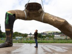 Artist Joseph Hillier and the sculpture (Andrew Fox)