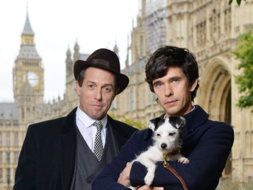 Hugh Grant playing Jeremy Thorpe and Ben Whishaw playing Norman Scott on set for BBC One's A Very English Scandal. (Kieron McCarron/BBC)