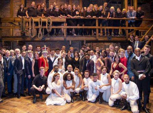 The Duke and Duchess of Sussex meeting the cast of Hamilton at the Victoria Palace Theatre in London (Dan Charity/The Sun/PA)