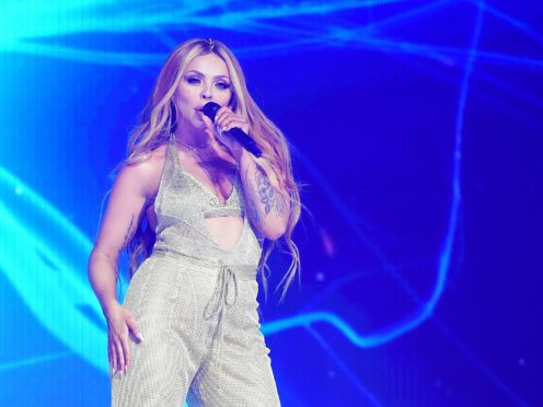 Little Mix star Jesy Nelson donned a Union Jack dress as she paid tribute to her 'idol' Geri Horner (Ian West/PA)