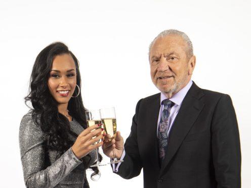 Sian Gabbidon, celebrates with Lord Sugar (Victoria Jones/PA)