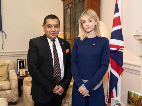 Lord Ahmad meets with War Child Ambassador Carey Mulligan at the Foreign Office in London (Tim P Whitby)