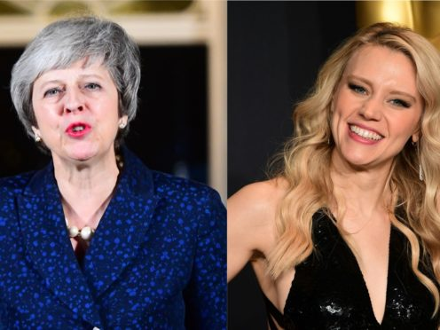 Theresa May and comedian Kate McKinnon (Victoria Jones/PA and Ian West/PA)