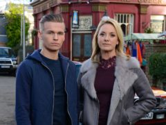 Hunter Owen, played by Charlie Winter, and Melanie Owen, played by Tamzin Outhwaite (Kieron McCarron/BBC)