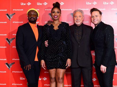will.i.am, Jennifer Hudson, Sir Tom Jones, and Olly Murs (Ian West/PA)