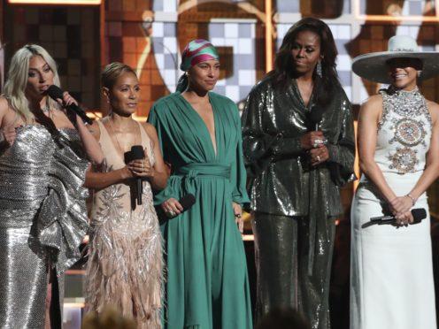 From left, Lady Gaga, Jada Pinkett Smith, Alicia Keys, Michelle Obama and Jennifer Lopez speak at the 61st Grammy Awards (Matt Sayles/Invision/AP)