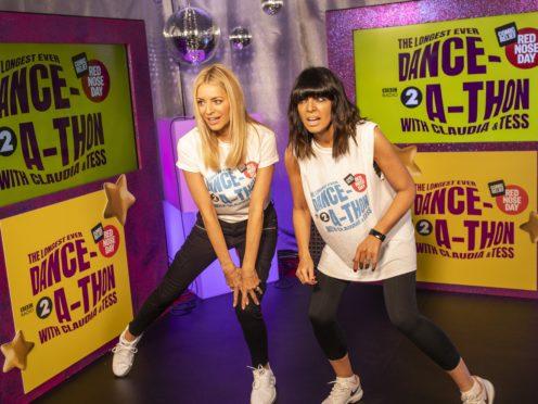 Claudia Winkelman (left) and Tess Daly raised money fopr Comic Relief with a 24-hour danceathon. (Tom Martin)