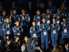 The young Thai football team The Wild Boars who were rescued from Tham Luang cave in Thailand during the Opening Ceremony of The Youth Olympic Games, Buenos Aires, Argentina (Jonathan Nackstrand/IOC/PA)