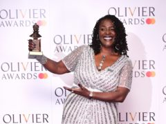 Sharon D Clarke with the Best Actress in a Musical award (Ian West/PA)