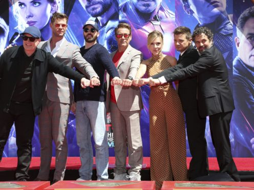 Stars of Avengers: Endgame received one of Hollywood's highest honours when they placed their hands in cement outside the historic TCL Chinese Theatre (Willy Sanjuan/Invision/AP)