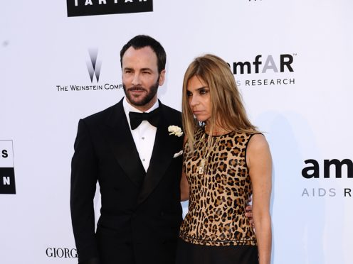 Carine Roitfeld with designer Tom Ford and arriving for the amfAR Cinema Against AIDS 2010 fundraiser at the Hotel Du Cap, Eden Roc, Cap D'Antibes during the Cannes Film Festival