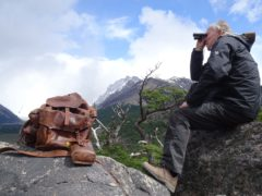 Werner Herzog with Bruce Chatwin's rucksack in Nomad – In the Footsteps of Bruce Chatwin. (Claire Rawles/PA)