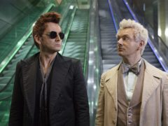 Michael Sheen as the angel (right) and David Tennant as the demon in Good Omens (Amazon Prime Video/PA)