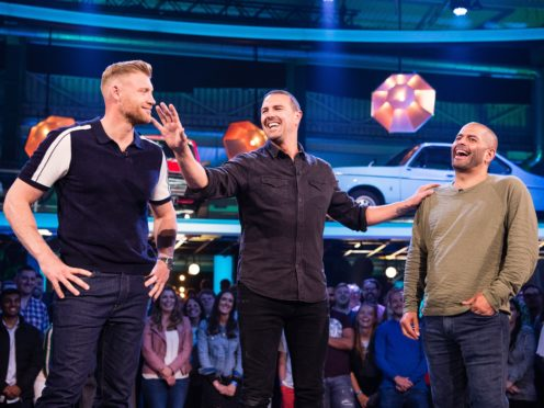 Freddie Flintoff and Paddy McGuinness join Chris Harris (BBC/PA)