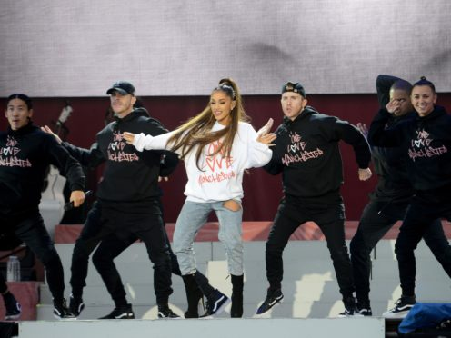 Ariana Grande on stage at the One Love Manchester concert (Dave Hogan for One Love Manchester/PA)