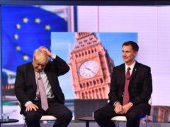 Boris Johnson (left ) and Jeremy Hunt during the BBC TV debate (Jeff Overs/BBC/PA)