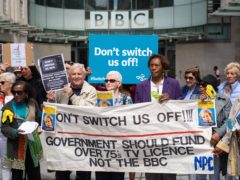 Demonstrators protest outside BBC Broadcasting House in Portland Place, London (Dominic Lipinski/PA)