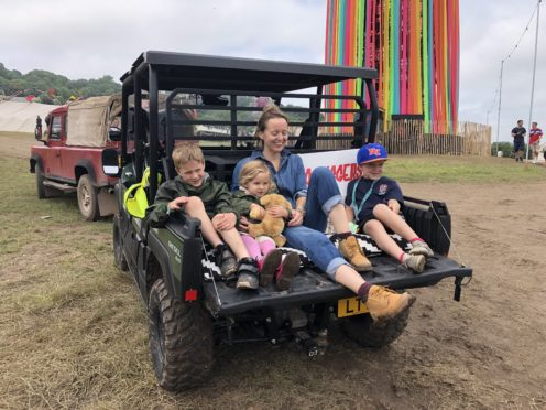 Emily Eavis opening the new Parlay Parlour in The Park on the first day of the Glastonbury Festival at Worthy Farm in Somerset (Claire Hayhurst/PA)