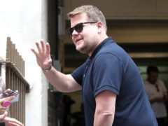 James Corden taking a selfie with fans during filming for The Late Late Show in London (Yui Mok/PA)