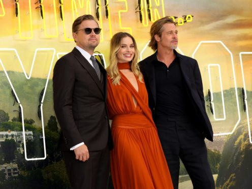 Leonardo DiCaprio, Margot Robbie (centre) and Brad Pitt (right) at the Once Upon A Time… In Hollywood UK premiere in Leicester Square, London (Isabel Infantes/PA)