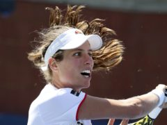 Johanna Konta, of the United Kingdom, returns a shot to Daria Kasatkina, of Russia, during the first round of the US Open tennis tournament Monday, Aug. 26, 2019, in New York. (AP Photo/Michael Owens)