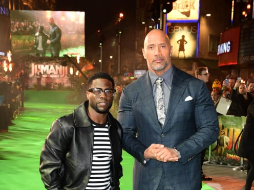 Dwayne Johnson has sent a message to his friend Kevin Hart after he was injured in a car crash (Ian West/PA)