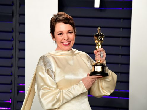 Olivia Colman with her Oscar for Best Actress attending the Vanity Fair Oscar Party (Ian West/PA)