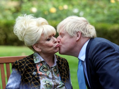Dame Barbara Windsor meeting Prime Minister Boris Johnson after she delivered an Alzheimer's Society open letter to 10 Downing Street in Westminster, London, calling on him to address the 'devastating state' of dementia care. (Simon Dawson/PA)