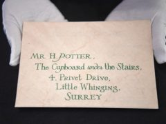 Harry Potter's Hogwarts acceptance letter (Kirsty O'Connor/PA)