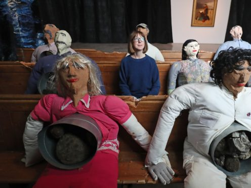 Figures from a piece by artist Oscar Murillo after it was unveiled as one of four pieces being shortlisted for this year's Turner Prize, at the Turner Contemporary in Margate, Kent.