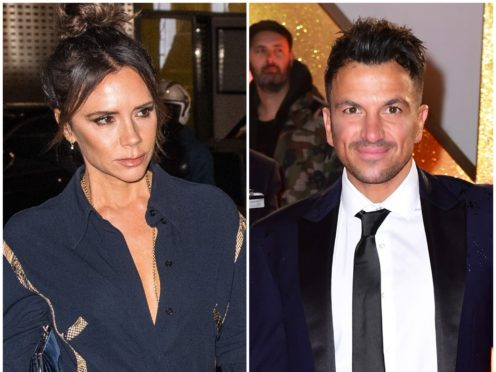 Peter Andre poses with Posh Spice-era Victoria Beckham in throwback picture (PA)
