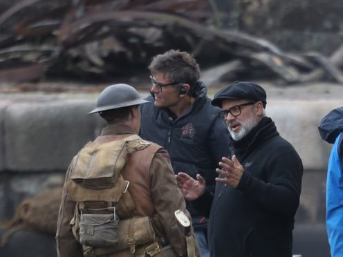 Director Sam Mendes with actor George Mackay on set of his new film 1917 (Andrew Milligan/PA)