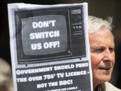 Demonstrators protest outside BBC Broadcasting House in Portland Place, London in protest over the corporation's decision to means-test the TV licence for older people from June 2020 (Dominic Lipinski/PA)
