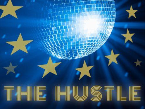 Rhodri Marsden and the record cover for The Hustle, his new Brexit-themed disco album (Rhodri Marsden/PA)