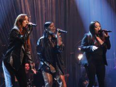 Siobhan Donaghy, Keisha Buchanan and Mutya Buena of the Sugababes performing on The Graham Norton Show (Isabel Infantes/PA)