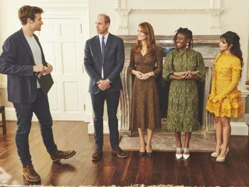 The Duke and Duchess of Cambridge with DJs Greg James and Clara Amfo, and singer Camila Cabello at Kensington Palace (BBC Radio 1/PA)