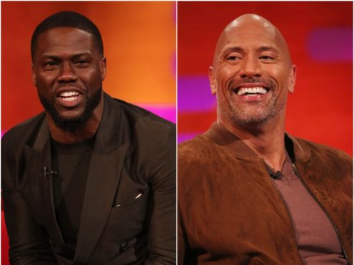 Comedian Kevin Hart trolled his friend Dwayne 'The Rock' Johnson by channelling an infamous 1990s-era picture for Halloween (PA)