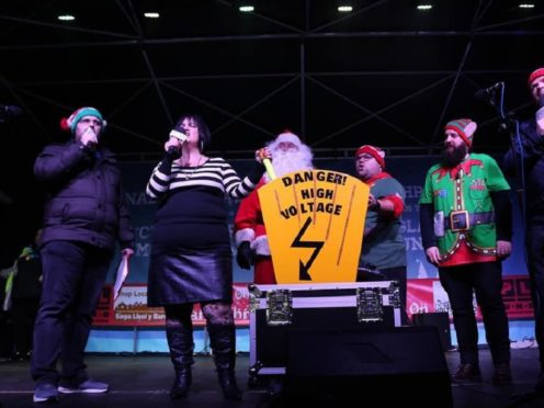 Ruth Jones switched on Barry town's Christmas lights (Dan Moffat/Bro Radio/PA)