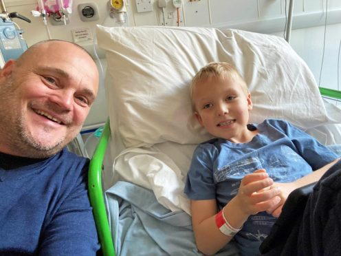 Comedian Al Murray with his six-year-old nephew Finley who is battling a rare form of leukaemia (Al Murray/PA)