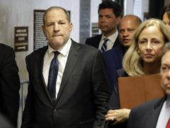 Harvey Weinstein, left, arrives at court for a hearing related to his sexual assault case in New York (Richard Drew/AP file photo)