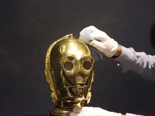 A promotional C-3PO helmet from 1983 (Luciana Guerra/PA)