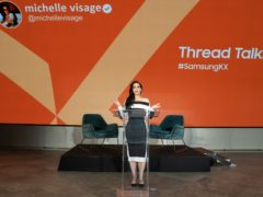 Ru Paul star Michelle Visage hosted her Thread Talks performance at Samsung KX, the technology firm's new experience space in Coal Drops Yard, King's Cross, London (PA)