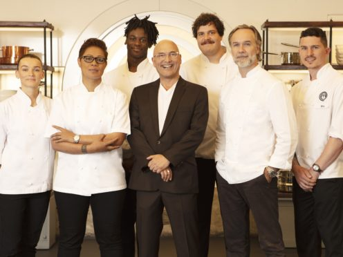 Judges Gregg Wallace, Monica Galetti and Marcus Wareing with the final four (BBC/PA)