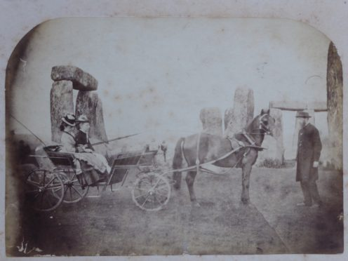 One of two pictures believed to be the earliest family snaps at Stonehenge (Routh Family/PA)