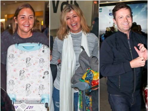 Jacqueline Jossa, Kate Garraway and Declan Donnelly touching down at Heathrow (Steve Parsons/PA)