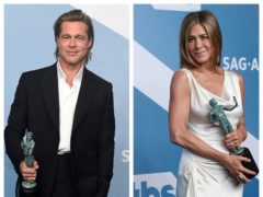 Brad Pitt and Jennifer Aniston both collected prizes at the SAGs (AP)