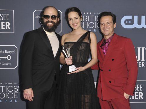 Brett Gelman, from left, Phoebe Waller-Bridge and Andrew Scott, following Fleabag's win at the Critics' Choice Awards (Richard Shotwell/Invision/AP)