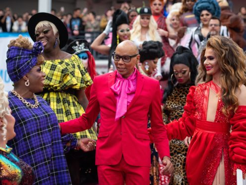 RuPaul with performers at RuPaul's DragCon UK convention (Dominic Lipinski/PA)