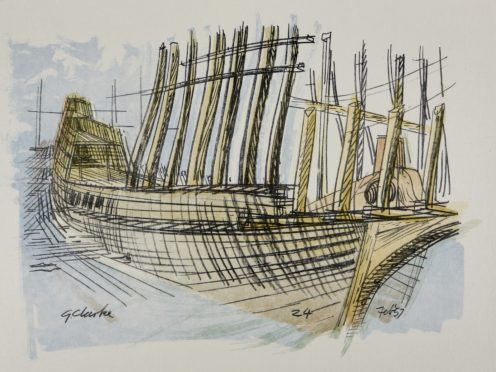 A drawing of the Mayflower II by George Clarke, which will be on display as part of a major exhibition (The Box/PA)
