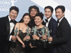 Parasite stars celebrate their SAG Awards win (Jordan Strauss/Invision/AP)